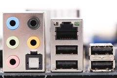 Motherboard color sockets. Close up. Stock Photography