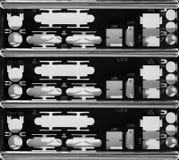 Motherboard computer back panel. High defenition horizontal orientation vivid vibrant bright black white rich composition design concept element object shape stock images