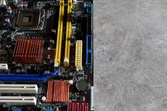 Motherboard of computer with components royalty free stock images