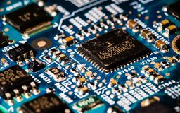 Microchip on a motherboard royalty free stock image