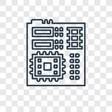 Motherboard concepten vector lineair pictogram op transparante B royalty-vrije illustratie