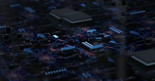 Motherboard Cpu Circuits. This is two 4K motion graphic videos of a CPU or GPU microprocessor with a network of computer electrical circuits going to other stock video footage