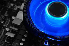 Motherboard with CPU fan Royalty Free Stock Images