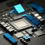 Motherboard and CPU Technology Background Royalty Free Stock Photography
