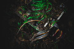 Motherboard in the dirt Royalty Free Stock Image