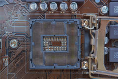 Motherboard electronics. Close-up, Mainboard - electronics, circuits, chips, top view Stock Photos