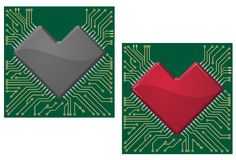 Motherboard heart chip Stock Photography