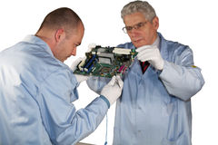 Motherboard inspection Royalty Free Stock Images
