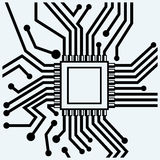 Motherboard with microchip. CPU Royalty Free Stock Image