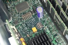 Motherboard with microcircuits. RAM, processors and radiator Stock Photo