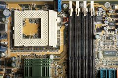 Motherboard PCB view to memory and CPU plugs Royalty Free Stock Photography