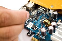 Motherboard with pins Royalty Free Stock Images
