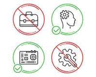 Motherboard, Portfolio and Engineering icons set. Customisation sign. Vector vector illustration
