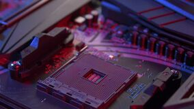 Motherboard with processor close up shot
