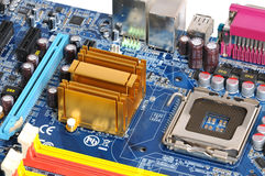 Motherboard. Radiator of motherboard and cpu slot Stock Photography