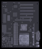 Motherboard. X-ray render. Motherboard. X-ray isolated render on white background Royalty Free Stock Photo