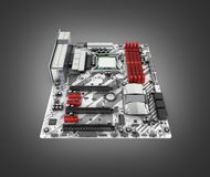 Motherboard with realistic chips and slots isolated on black gradient background 3d render royalty free illustration