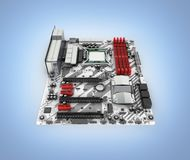 Motherboard with realistic chips and slots isolated on blue gradient background 3d render stock illustration