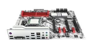 Motherboard with realistic chips and slots isolated on white background 3d render without shadow royalty free illustration