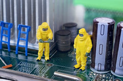 Motherboard repairing, cleaning or diagnosing concept Royalty Free Stock Photography