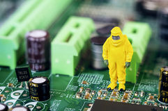 Motherboard repairing or diagnosing concept Royalty Free Stock Photo
