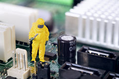 Motherboard repairing or diagnosing concept Stock Images