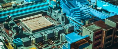 Motherboard on a table close-up. Bright light Royalty Free Stock Photography