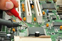 Motherboard testing Stock Photo
