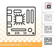 Motherboard simple black line vector icon stock illustration