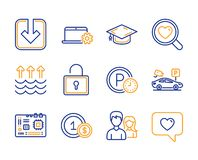 Motherboard, Usd coins and Load document icons set. Search love, Notebook service and Parking security signs. Vector vector illustration
