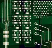 Motherboard, vector. Abstract background, motherboard green and gold Royalty Free Stock Image