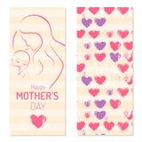 Motherdag - Elegant Kaartmalplaatje met de contouren aangegeven van moeder een kindsilhouet royalty-vrije illustratie
