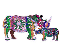 Motherhood. Rhinoceroses from various elements in the ethnic style on a white background Stock Photo