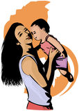 Motherhood. Drawing of mother and her baby Stock Photos