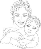 Motherhood. The portrait of mother and baby. Linear figure Stock Image