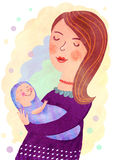 Motherhood. Mother gently holding her son - nice illustration Royalty Free Stock Photo
