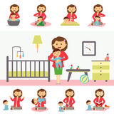 Motherhood Concept Illustration In Flat Design. Royalty Free Stock Photography