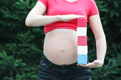Motherhood concept. Pregnant girl with five Stock Photo