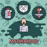 Motherhood flat conept icons Stock Images