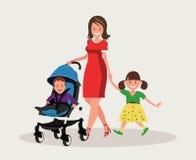 motherhood Gelukkige jonge moeder met haar dochter en een peuter in een kinderwagen stock illustratie