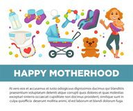 Motherhood happy mother and newborn child clothing accessories vector poster Stock Photo