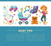 Motherhood happy mother and newborn child poster. Royalty Free Stock Image