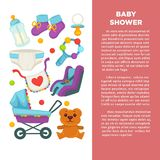 Motherhood happy mother and newborn child poster. Stock Image