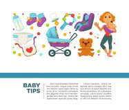 Motherhood happy mother and newborn child poster. Royalty Free Stock Photo