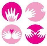 Motherhood, helpful hands icons Royalty Free Stock Photos