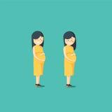 motherhood Het zwangere vrouw stellen stock illustratie