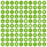 100 motherhood icons hexagon green. 100 motherhood icons set in green hexagon isolated vector illustration Royalty Free Stock Images