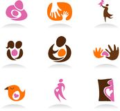 Motherhood icons and logos Stock Photography