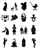 Motherhood icons set. In black Stock Photo