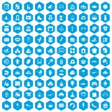 100 motherhood icons set blue. 100 motherhood icons set in blue hexagon isolated vector illustration Royalty Free Stock Photo